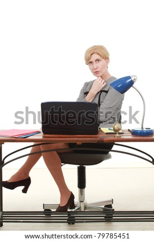 Woman at a desk - stock photo