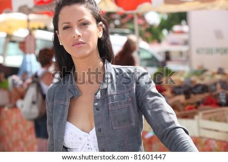 Woman at a market - stock photo