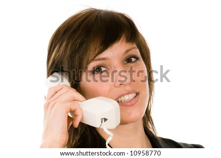 woman at a old phone - stock photo