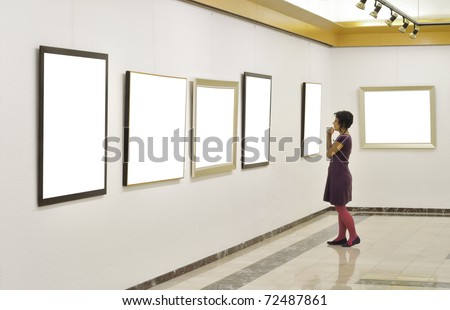 Woman at Art Gallery.Other images, - stock photo