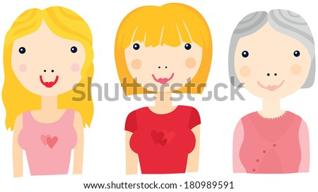 Woman at Different Ages Sequence: Young Woman, Middle-Aged, Older - stock photo
