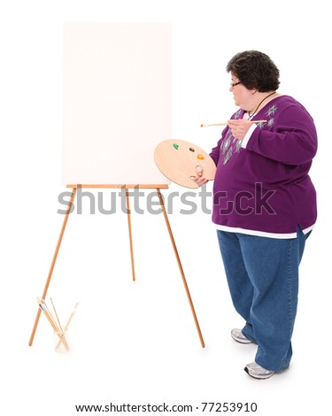 Woman At Easel Ready To Paint