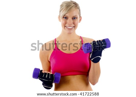 Woman at Fitness Training with Weights - Isolated over a White Background