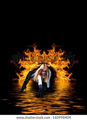 Woman Hells Door Dramatic Background Stock Photo (Royalty Free) 160998404 - Shutterstock & Woman Hells Door Dramatic Background Stock Photo (Royalty Free ...