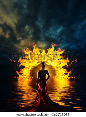 Woman at hell\u0027s door dramatic background & Woman Red Dress Gate Hell Stock Photo 161347058 - Shutterstock Pezcame.Com