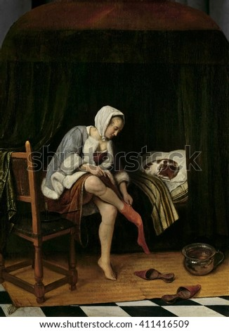 Woman at Her Toilet, by Jan Steen, 1655-60, Dutch painting, oil on panel. Young woman pulling off a stocking as she undresses. Her raised skirt allows the viewer a peak up along her bare legs. In the