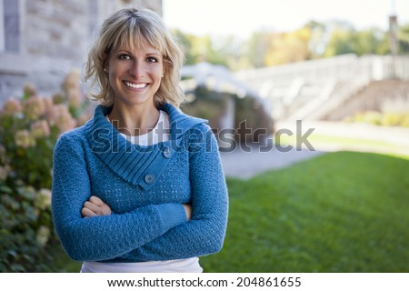 Woman At Home Outside - stock photo