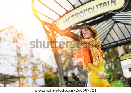 Woman at Montmartre, Abbesses subway station - stock photo