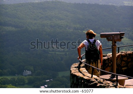 Woman at Mountain Overlook - stock photo