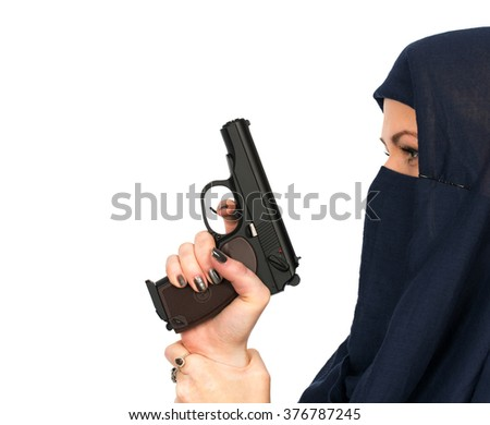 Woman at sport shooting with air gun - isolated - stock photo