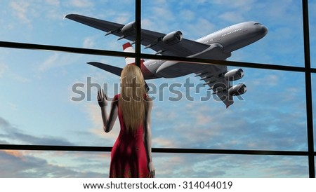 Woman at the airport at departure of Passenger airplane in background