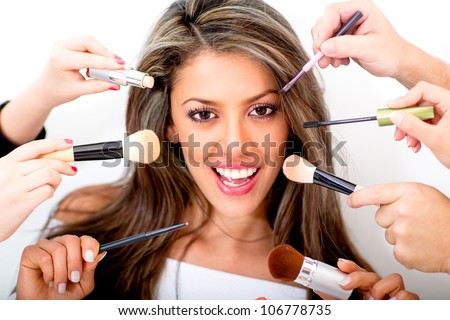 Woman at the beauty salon getting professional styling - isolated over white - stock photo