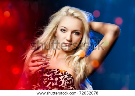woman at the club with cocktail