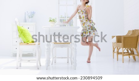 Woman at the kitchen - stock photo
