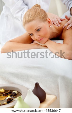 Woman at the spa having a massage on her back indoors - stock photo