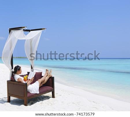 woman at vacation - stock photo