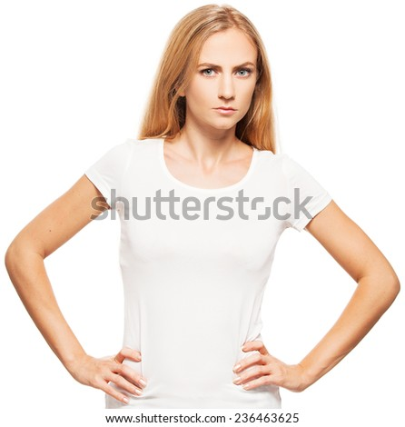 Woman at white background. Angry female isolated  - stock photo