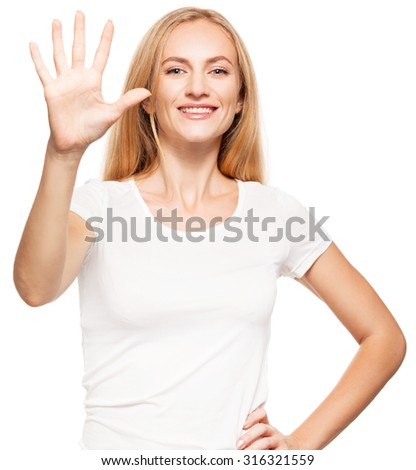Woman at white background. Young female isolated  - stock photo