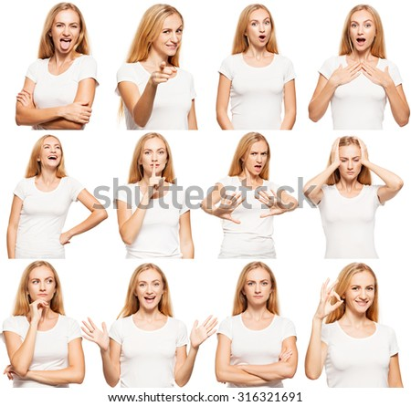 Woman at white background. Young female isolated. Collage - stock photo
