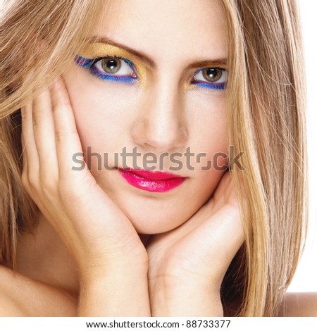 woman attractive beautiful bright bare hands near face keeps