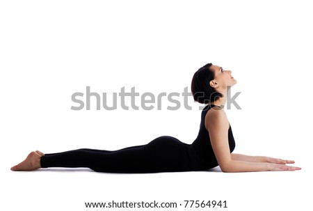 woman back bends yoga asana - sphinx pose isolated - stock photo