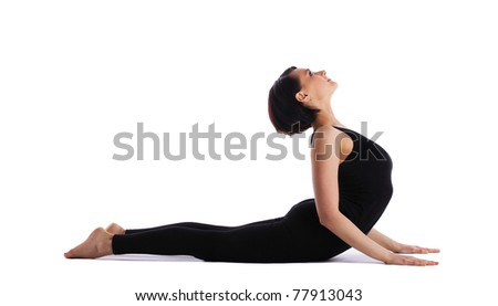 woman back bends yoga - cobra pose isolated