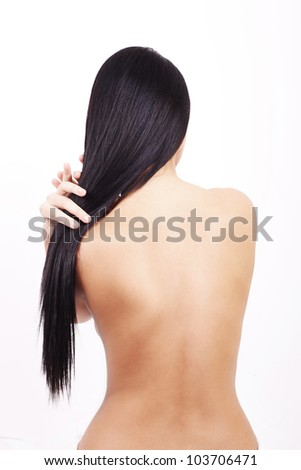 Woman back, isolated on white