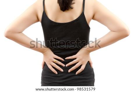 Woman Back pain. - stock photo