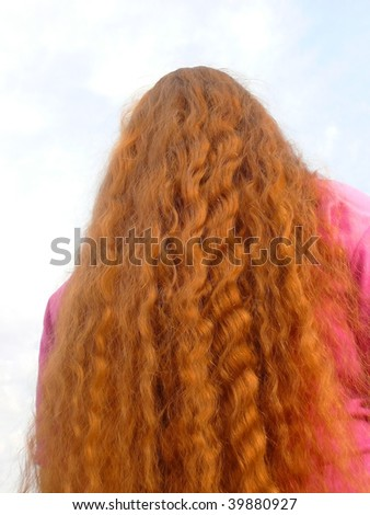 woman back with beautiful red hair - stock photo