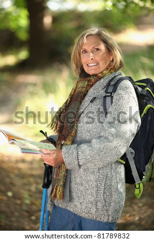 Woman backpacking - stock photo