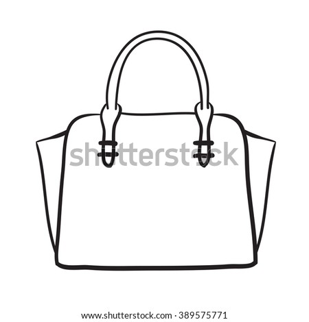 Woman bag hand drawn, female stylish purse fashion illustration black lines  - stock photo