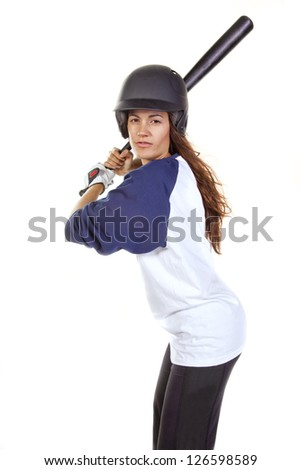 Woman baseball or softball player at bat isolated on white. - stock photo