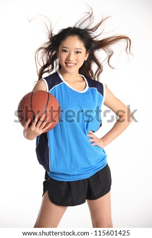 woman basketball player isolated on white - stock photo