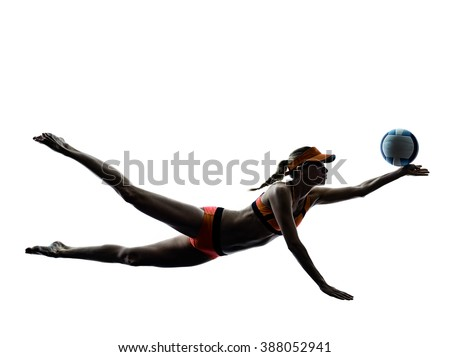woman beach volley ball player silhouette - stock photo