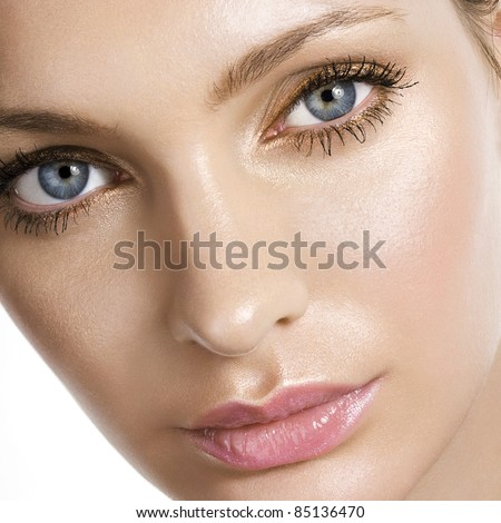 Woman beautiful face closeup