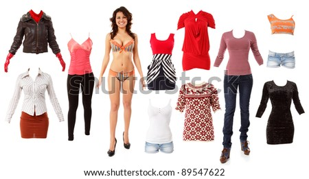 woman beautiful fashion clothes collection isolated on white background - stock photo