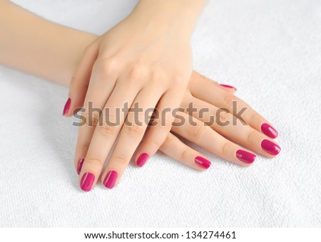 Woman beautiful hands with manicure