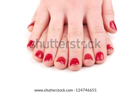 woman beautiful hands with manicure on white
