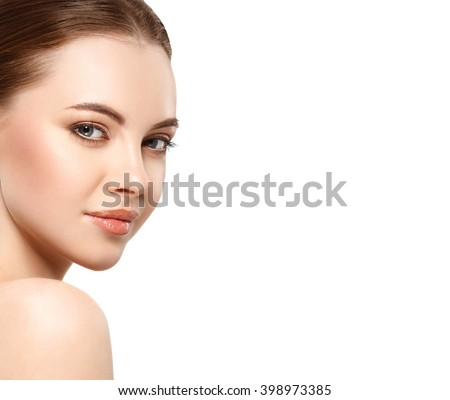 Woman beauty face portrait isolated on white with healthy skin - stock photo