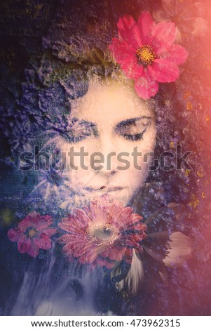 woman beauty face with flowers composite photo