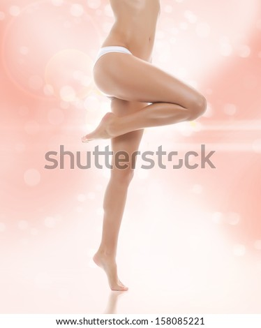 woman beauty long legs, body over pink background, young girl in panties, beautiful female hip spa treatment wax and health skin care concept - stock photo