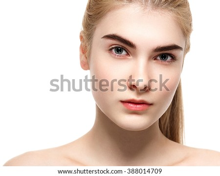 Woman Beauty portrait Blonde hair. Skin care, cosmetics and makeup concept.Isolated on white. Healthy perfect skin.