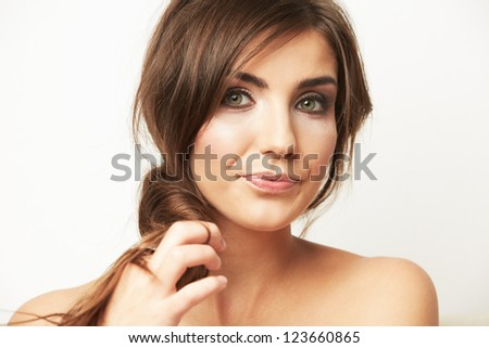 Woman beauty portrait. Close up woman face isolated on white. Beautiful girl with long hair.