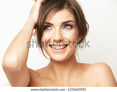 Woman beauty portrait. Close up woman face isolated on white. Beautiful girl with long hair. - stock photo