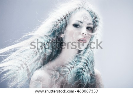 woman beauty portrait double exposure nature concept