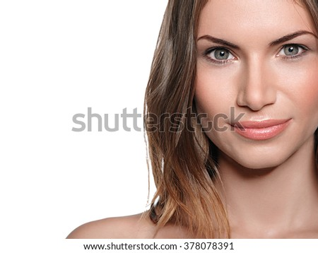 Woman beauty portrait isolated on white close-up  - stock photo
