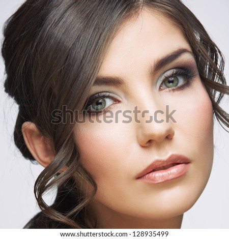 Woman beauty portrait. isolated on white. close up female face. Beauty model . - stock photo