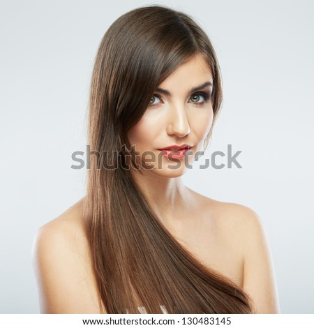 Woman beauty portrait. isolated on white. close up female face. Long hair .