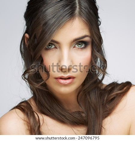 Woman beauty portrait, sensual open lips. Long hair style. Female model studio posing. - stock photo