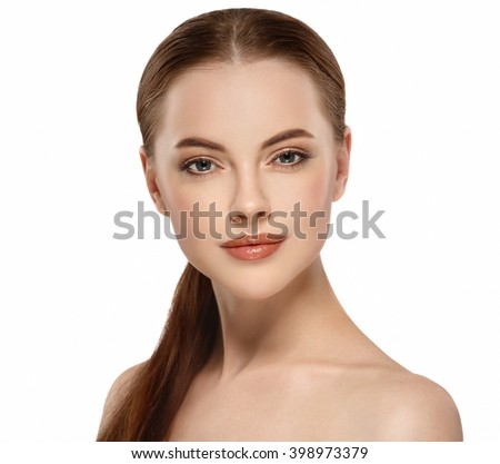 Woman beauty portrait studio closeup with healthy skin